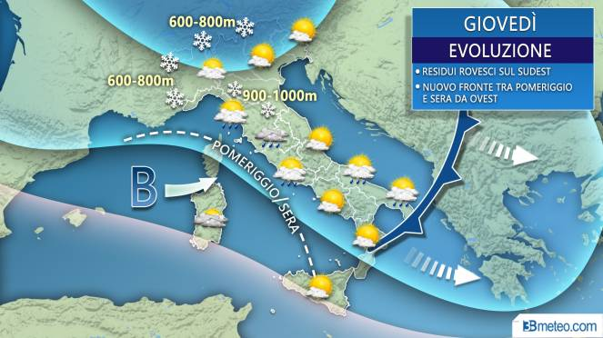 Meteo Italia giovedì