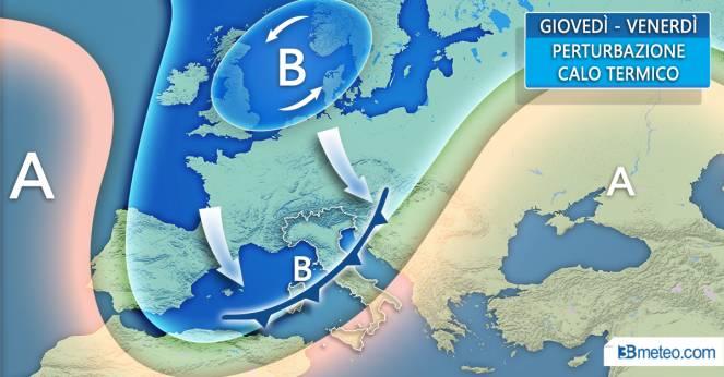 In arrivo perturbazione atlantica, piogge e nevicate dall'1° febbraio