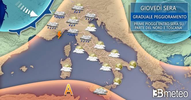 Meteo Italia giovedì sera