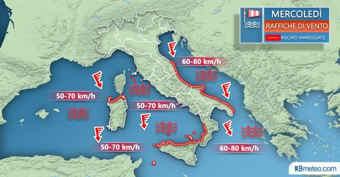 Meteo Italia: i venti attesi mercoledì