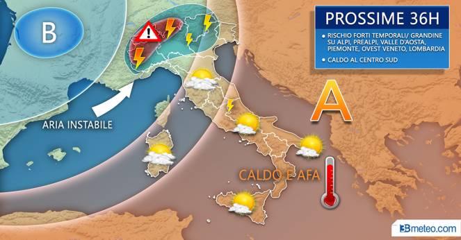 Meteo Italia: il tempo previsto nelle prossime 36 ore
