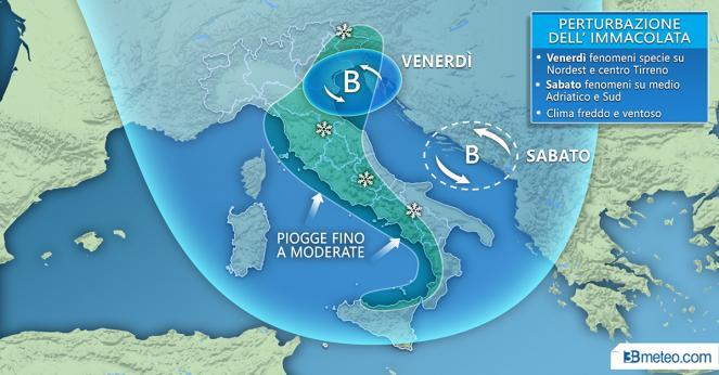 Meteo Italia: in arrivo la perturbazione dell'Immacolata