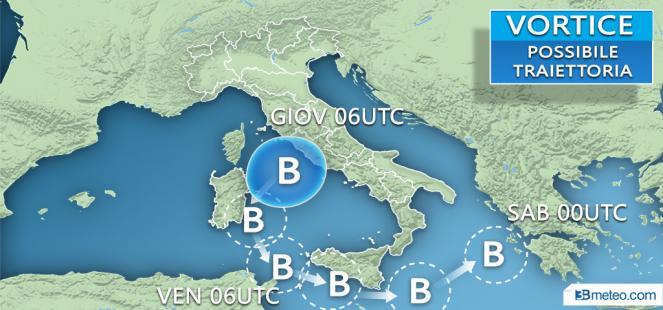Meteo Italia: la probabile traiettoria del ciclone