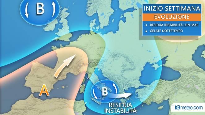 Meteo Italia, la situazione attesa lunedì