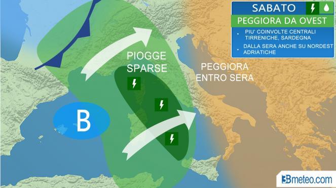 Meteo Italia: la situazione attesa Sabato