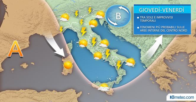 Meteo Italia: la situazione attesa tra giovedì e venerdì