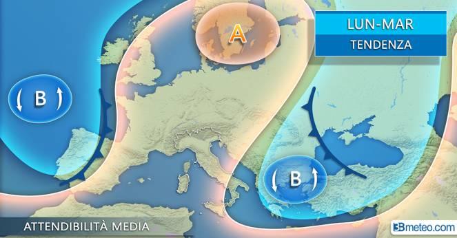 Meteo Italia: la situazione attesa tra lunedì e martedì