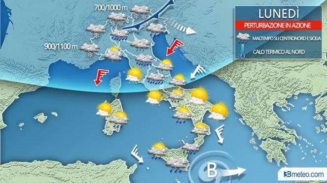 Meteo Italia la situazione prevista lunedì