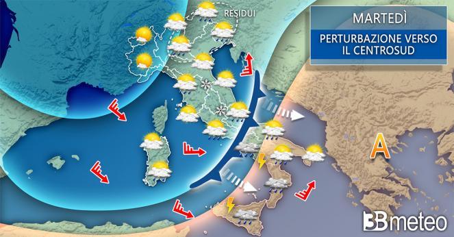 Meteo Italia: la situazione prevista martedì