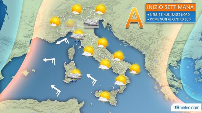 Meteo Italia: la situazione prevista nella prima parte della nuova settimana
