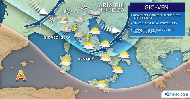 Meteo Italia: la situazione prevista tra giovedì e venerdì