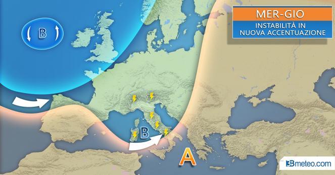 Meteo Italia: la situazione prevista tra mercoledì e giovedì