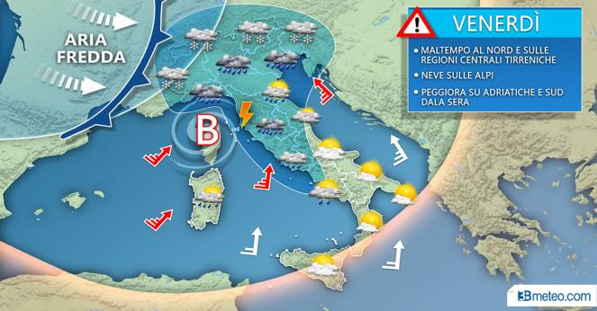 Meteo Italia: la situazione prevista venerdì
