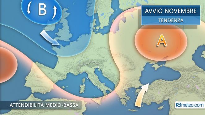 Meteo Italia: la tendenza in avvio di novembre
