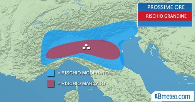 Meteo Italia: le aree a rischio grandine nelle prossime ore
