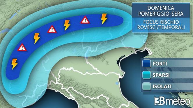 Meteo Italia: le aree a rischio temporali domenica