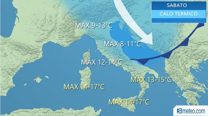 Meteo Italia: le massime attese sabato