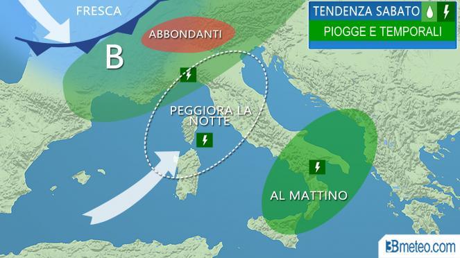 Meteo Italia: le prospettive per sabato