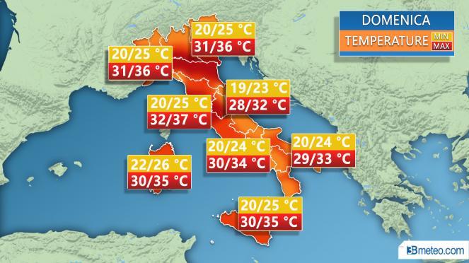 Meteo Italia: le temperature attese domenica