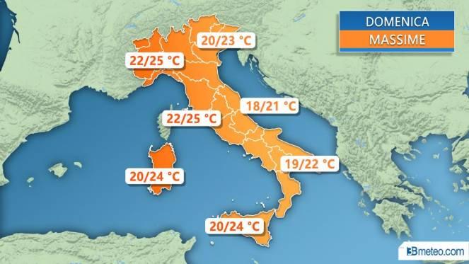 Meteo Italia: le temperature massime attese domenica