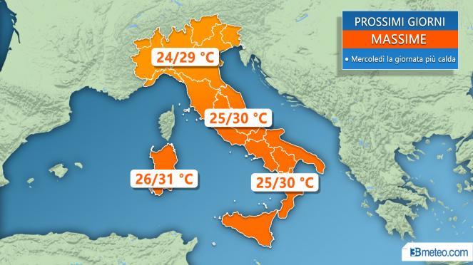 Meteo Italia: le temperature massime attese nei prossimi giorni