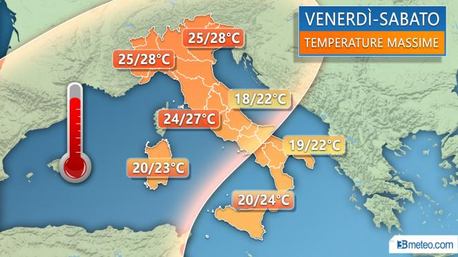 Meteo Italia: le temperature massime attese tra venerdì e sabato