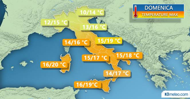 Meteo Italia: le temperature massime previste domenica
