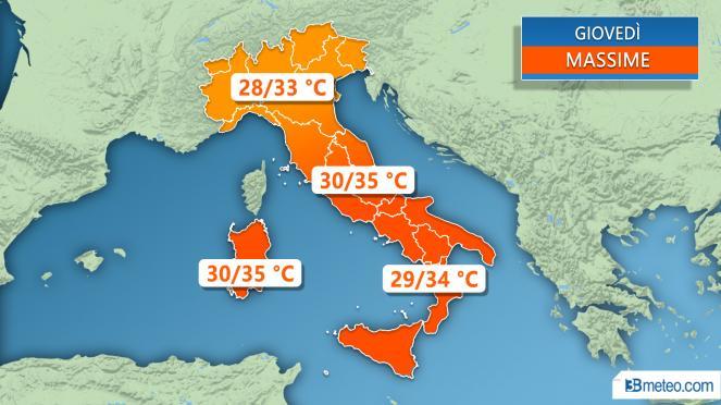 Meteo Italia: le temperature massime previste giovedì