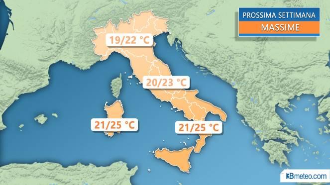 Meteo Italia: le temperature massime previste la prossima settimana