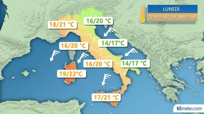 Meteo Italia: le temperature massime previste lunedì