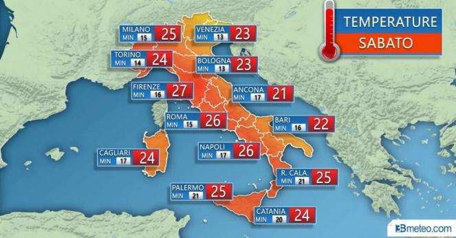 Meteo Italia: le temperature massime previste sabato