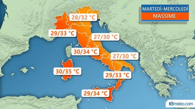 Meteo Italia: le temperature massime previste tra martedì e mercoledì
