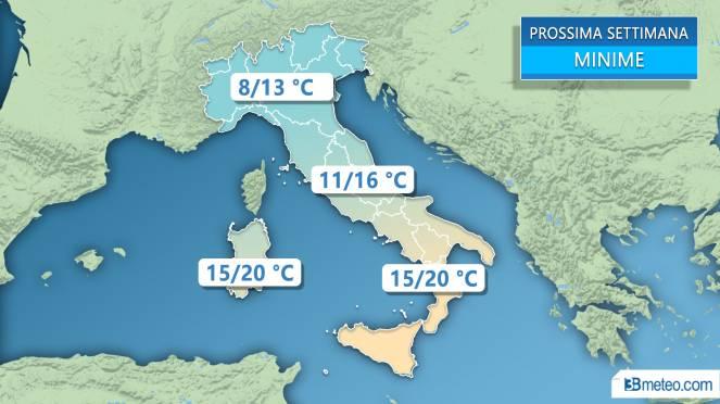 Meteo Italia: le temperature minime previste la prossima settimana