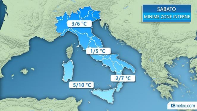 Meteo Italia: le temperature minime previste sabato