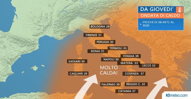 METEO ITALIA: Le temperature previste da giovedì