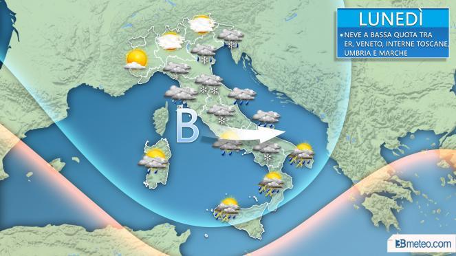 Meteo Italia: lunedì maltempo verso il Centrosud