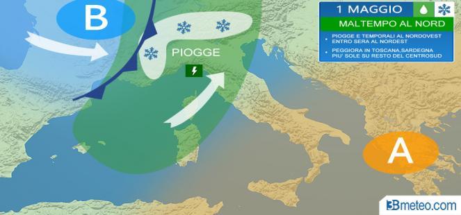 1 Maggio MALTEMPO al Nord, neve sulle Alpi