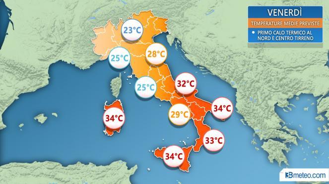 Meteo Italia: media temperature massime attese venerdì