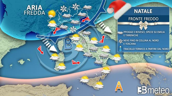 Meteo Italia Natale, vortice in formazione sull'Italia