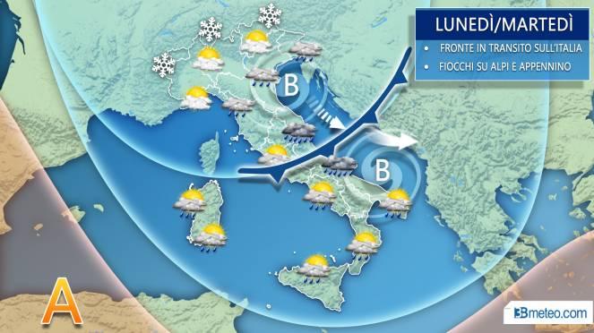 Meteo italia nel dettaglio, lunedì martedì fronte freddo