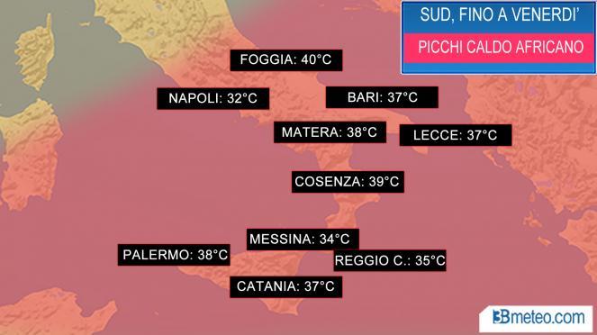 Meteo Italia: picco caldo africano
