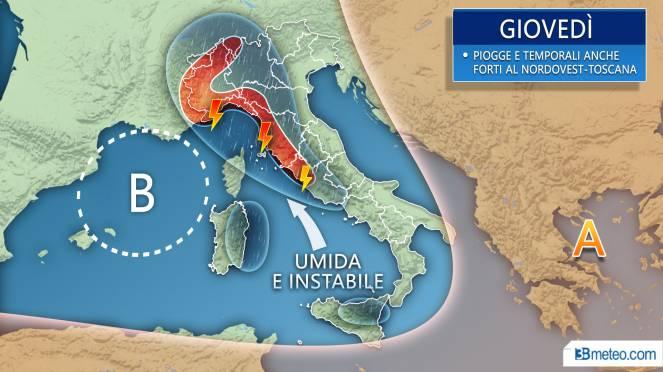 Meteo Italia: previsioni per giovedì