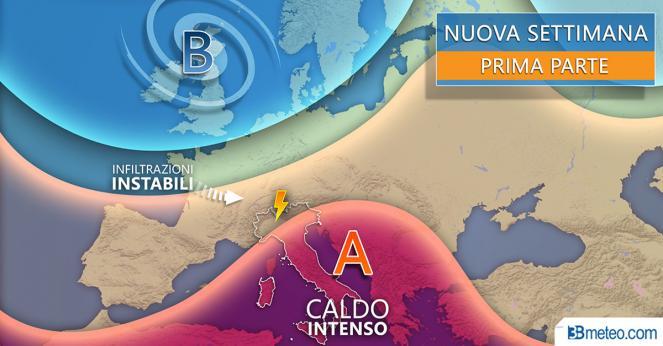 Meteo Italia: proiezioni per la prima parte della nuova settimana
