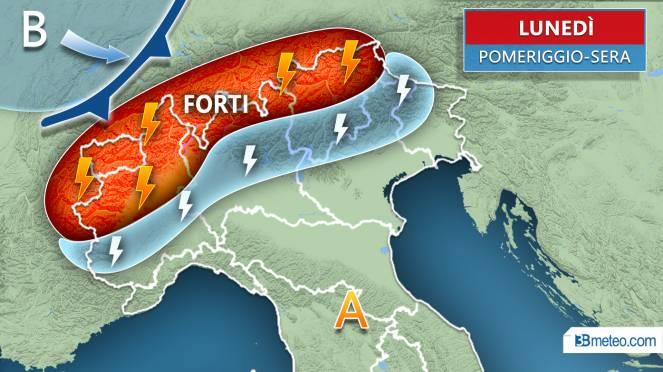 Meteo Italia: prossime ore forti temporali su parte del Nord