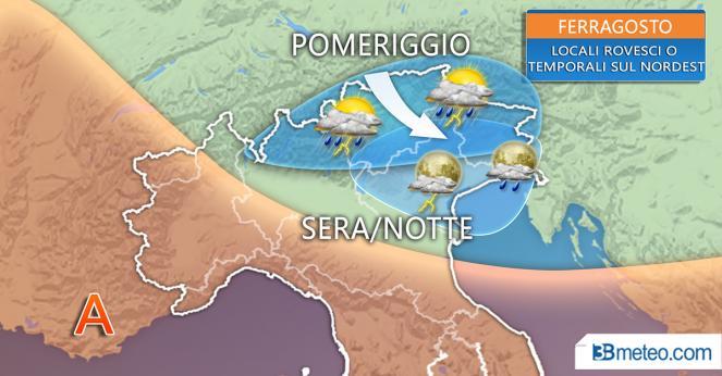 Meteo Italia: qualche rovescio o temporale sul Triveneto a Ferragosto soprattutto dalla sera