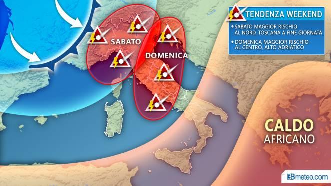 Domenica temporalesca e crollo termico di 15 gradi: le previsioni meteo