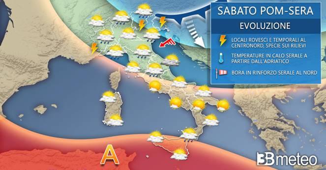 Meteo Italia sabato pomeriggio-sera