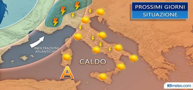 Prossimi giorni: SOLE E CALDO ma anche qualche TEMPORALE al Nord e Appennino