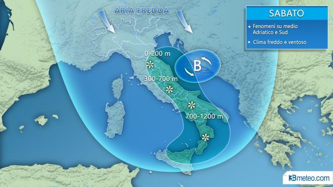 Meteo Italia: situazione attesa sabato
