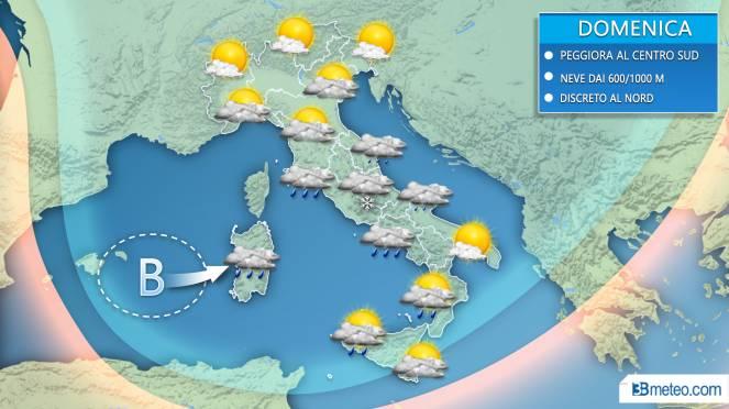 Meteo Italia: situazione prevista domenica